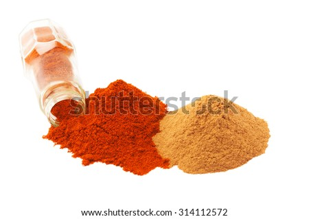 Colorful spices over white background - stock photo
