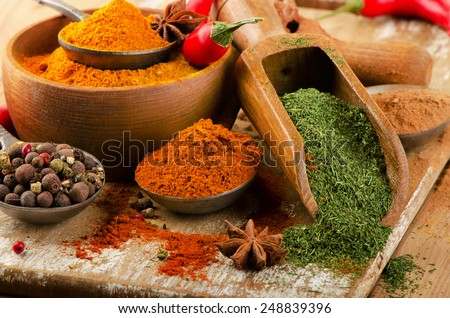 Colorful  spices . Selective focus  - stock photo