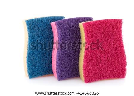Colorful sponges isolated on white background. - stock photo