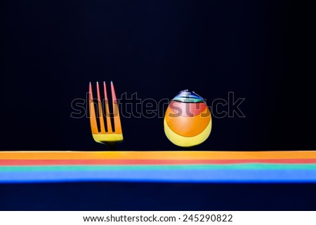 colorful spoon and fork - stock photo
