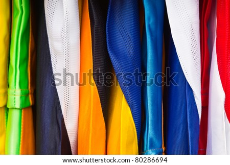 Colorful sport shirts close up - stock photo