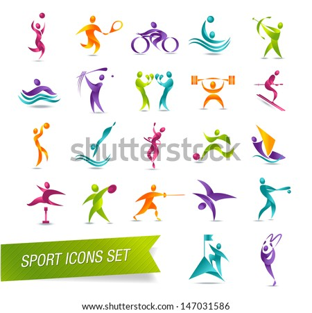 Colorful sports icon set - stock photo