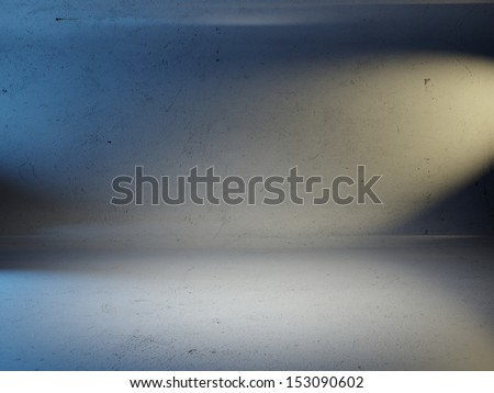 colorful spotlights on a concrete wall - stock photo