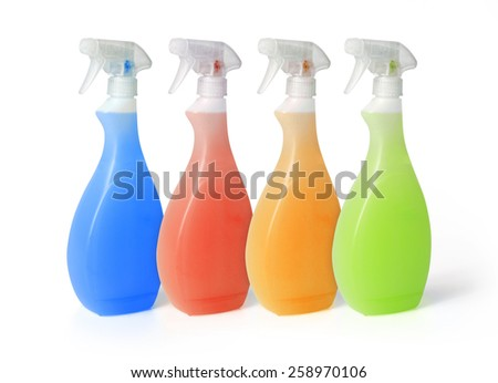 colorful spray cleaners isolated on white background - stock photo