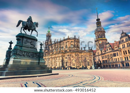 Colorful spring scene in center of the Dresden - Old Town, place of residence kings of Saxony Dresden Castle (Residenzschloss or Schloss), Katholische Hofkirche, Germany, Europe.