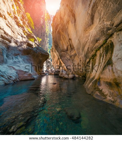 Colorful spring scene inside Goynuk canyon, located in District of Kemer, Antalya Province. Beautiful morning scenery in Turkey, Asia. Artistic style post processed photo.