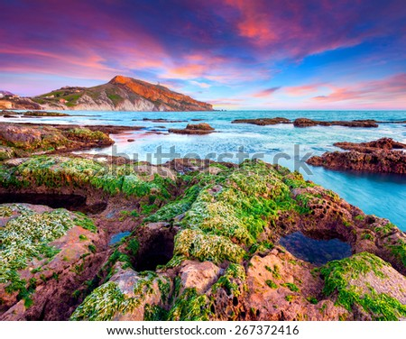 Colorful spring sunset from the Giallonardo beach, Sicily, Italy, Tyrrhenian sea, Europe. - stock photo