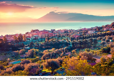 Colorful spring sunset in the Solanto village, Mediterranean sea, province Palermo, Sicily, Italy, Europe. Instagram toning. - stock photo