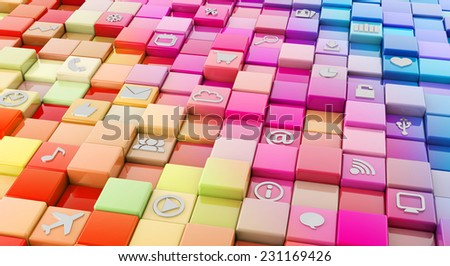 colorful square background with media technology icons - stock photo