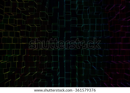 Colorful square texture background. Pattern on black background