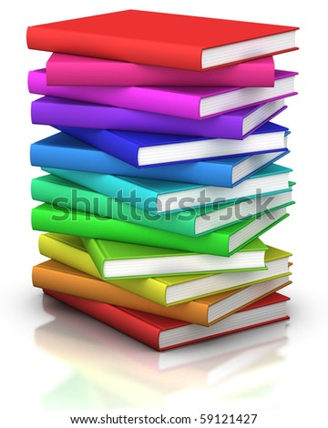 colorful stack of books  - 3d illustration/rendering - stock photo