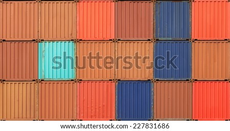 Colorful stack of container shipping at dockyard - stock photo