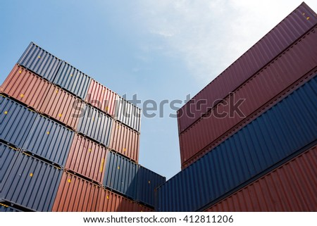 Colorful stack pattern of cargo shipping containers in shipping yard for import,export industrial - stock photo