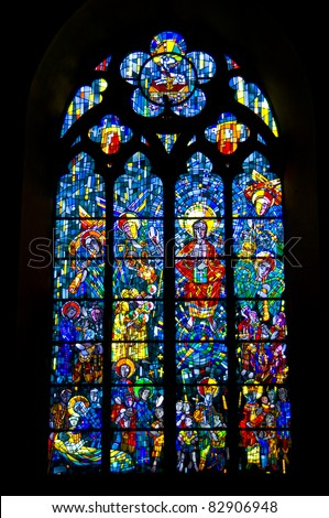 colorful stained glass window of a church in Bochum
