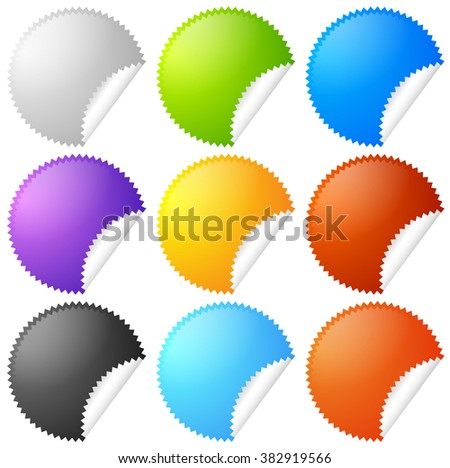 Colorful starburst, badge sticker shapes with blank space. - stock photo