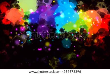 Colorful stardust brush strokes on black background. Raster version - stock photo