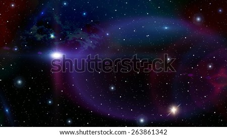 Colorful starry sky with nebula image - stock photo