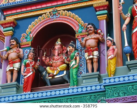 Colorful statue of the God Ganesh at an Indian Temple - stock photo
