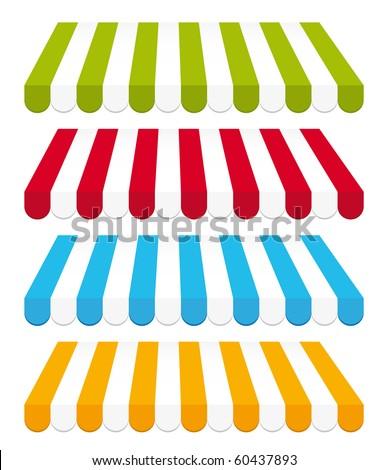 Colorful storefront awnings set. - stock photo