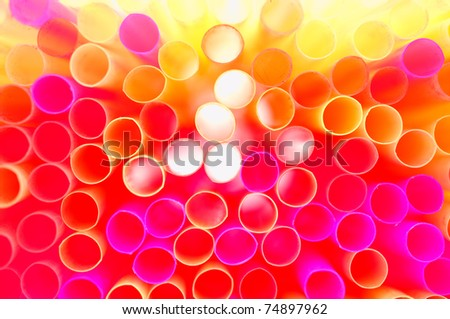 colorful straws - stock photo