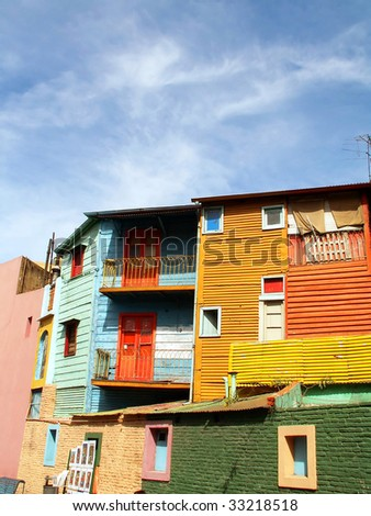 Colorful street El Caminito in Boca district, Buenos Aires - stock photo