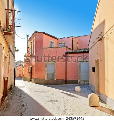 colorful street in Palazzolo Acreide Old Town, Sicily - stock photo