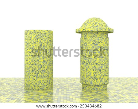 colorful street pole or pillar - stock photo