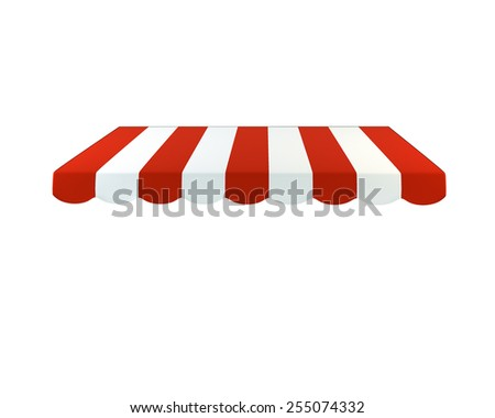 Colorful striped awning on a white background. 3D illustration - stock photo