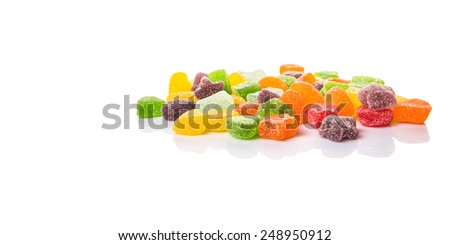 Colorful sugar jelly candy over white background