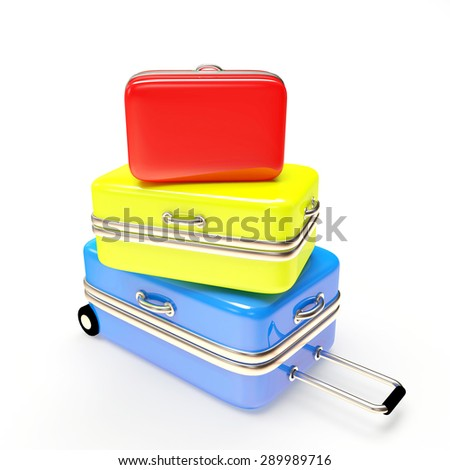 Colorful suitcases isolated on white background - stock photo