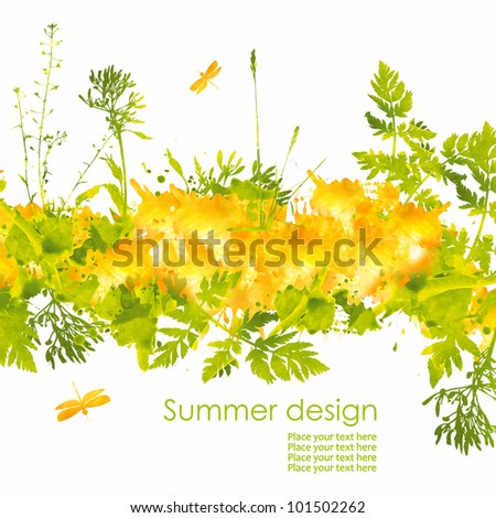 Colorful summer hand drawn design from watercolor stains. Grass, butterfly and splash of paint, isolated on white background - stock photo