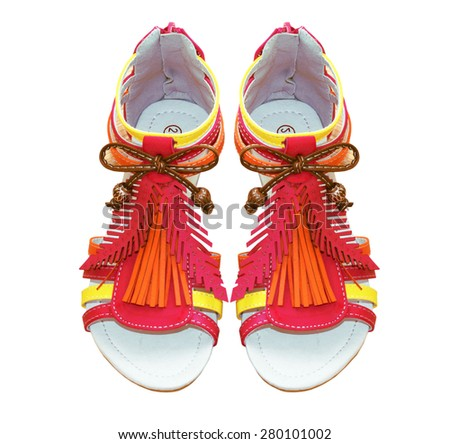 Colorful summer kid's female sandals.Shoes isolated. - stock photo