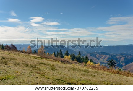 Colorful summer landscape in the mountain, under a blue sky with white clouds