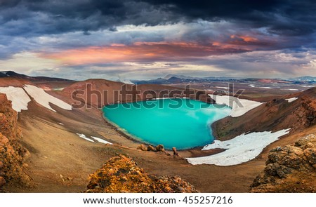 Colorful summer scene with crater pool of Krafla volcano. Dramatic sunset in the Northeast Iceland, Myvatn lake located, Europe. Artistic style post processed photo.