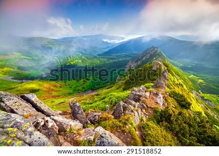 Colorful summer sunrise in the foggy Carpathian mountains. Chornogora ridge, Ukraine. - stock photo