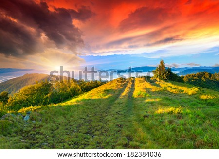 Colorful summer sunrise in the mountains. - stock photo