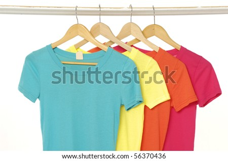 Colorful summer t-shirts background - stock photo