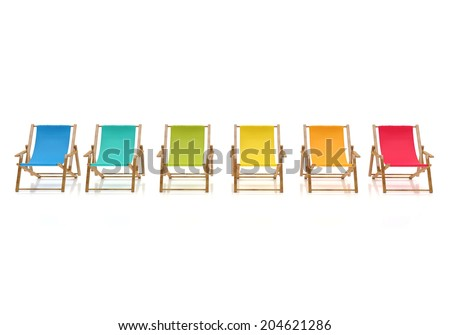 colorful sun chairs isolated on white background - stock photo