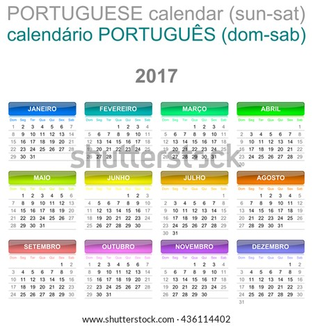 Colorful Sunday to Saturday 2017 Calendar Portuguese Language Version Illustration