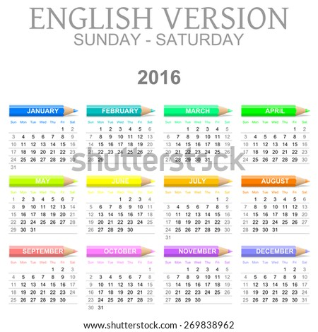 Colorful Sunday to Saturday 2016 Calendar with Crayons English Version Illustration - stock photo