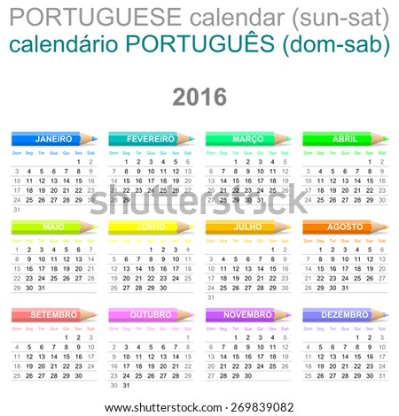 Colorful Sunday to Saturday 2016 Calendar with Crayons Portuguese Version Illustration - stock photo