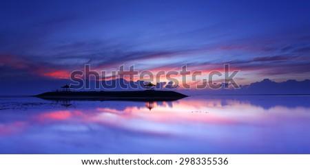 Colorful sunrise at Sanur Beach of bali, Indonesia - stock photo