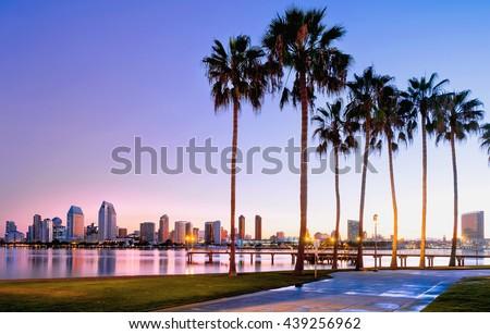 Colorful sunrise on Coronado Island.  San Diego, California USA. - stock photo