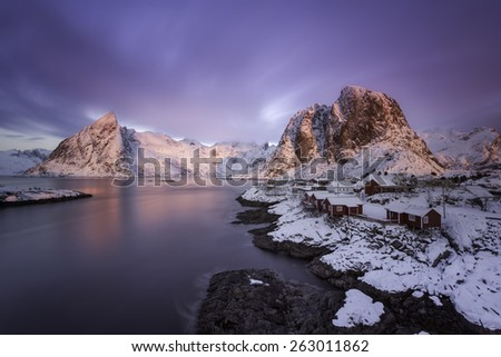 Colorful sunrise over Hamnoy, Lofoten islands - stock photo
