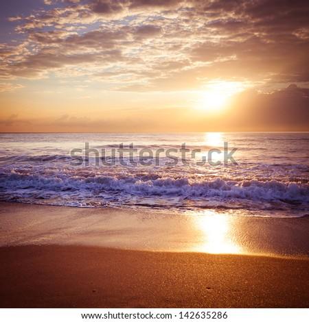 Colorful sunrise over the sea. Nature composition. - stock photo