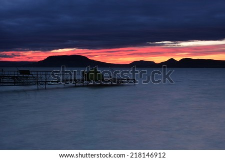 colorful sunset at Badacsony - stock photo