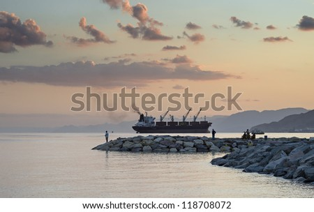 Colorful sunset at the Red Sea, Eilat, Israel - stock photo