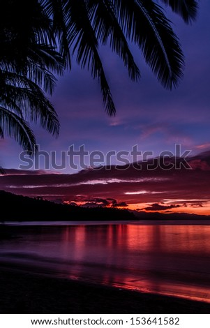Colorful sunset on a beach - Port Barton, Philippines
