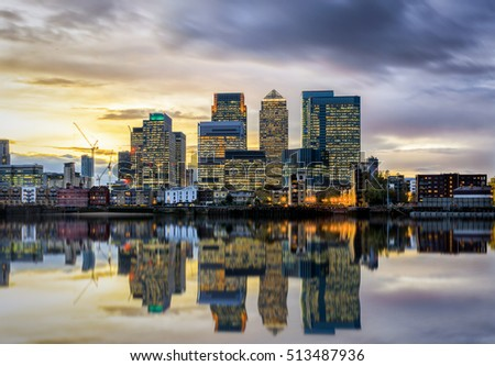 Colorful sunset over Canary Wharf, London