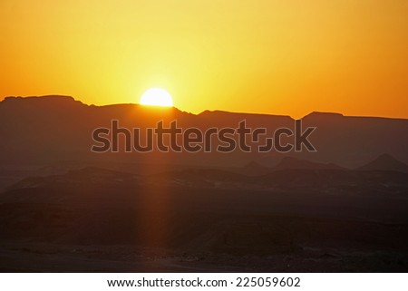 colorful sunset over egypts desert near el quesir
